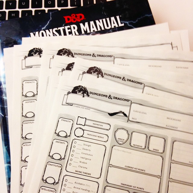 Monster Manual and Character Sheets
